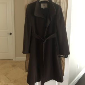 Burberry Brown Wool/Cashmere Trench Coat US-12